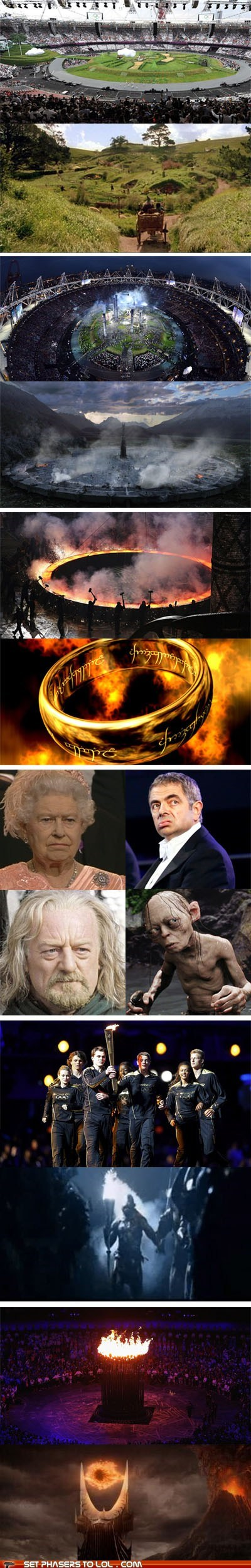 best of the week,gollum,London 2012,Lord of The Ring,Lord of the Rings,mordor,mr-bean,olympics,opening ceremony,Queen Elizabeth II,rowan atkinson,sauron,similar,Sméagol,The Shire,totally looks like