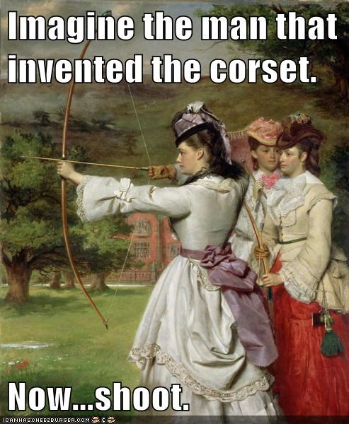 archery,corset,men,retribution,women