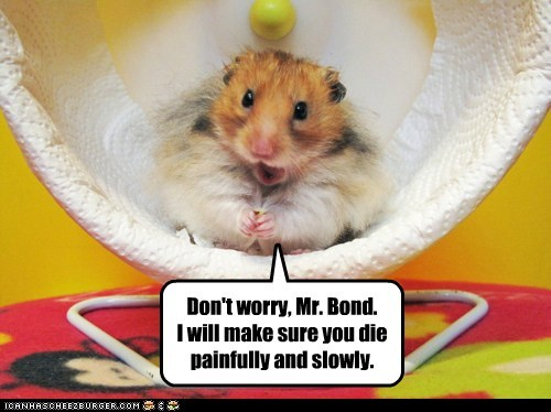 bond villain,evil,hamster,hamster wheel,james bond,painfully,scheming,slowly