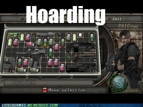 gameplay,hoarders,inventory management,leon,tlc