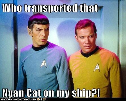 annoyed,Captain Kirk,Leonard Nimoy,Nyan Cat,Shatnerday,Spock,Star Trek,transporter,William Shatner