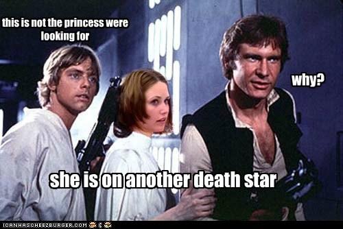Death Star,Han Solo,Harrison Ford,luke skywalker,mario,Mark Hamill,princess,princess is in another ca,princess is in another castle,why