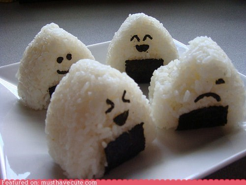 epicute,faces,nori,onigiri,rice,seaweed