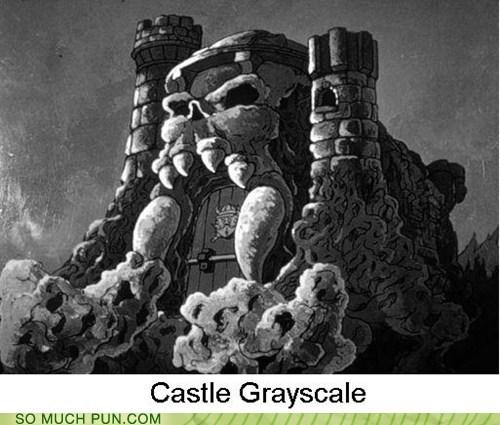 castle,castle grayskull,classic,grayscale,he man,literalism,similar sounding