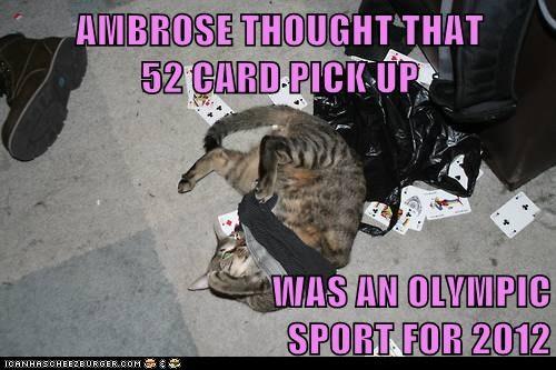 52 pick up,captions,cards,Cats,London 2012,magic,olympics,play,sport