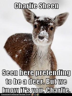 Charlie Sheen,deer,disguise,pretending,we know