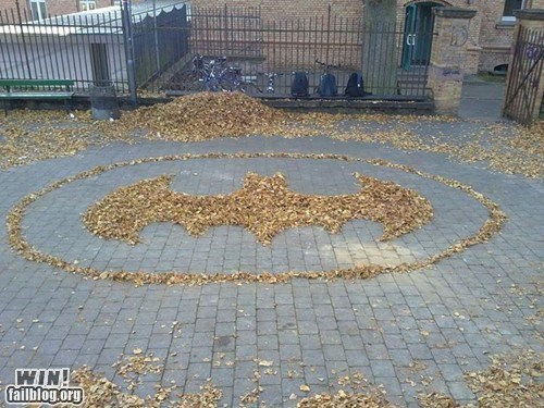 batman,design,fall,leaf,raking
