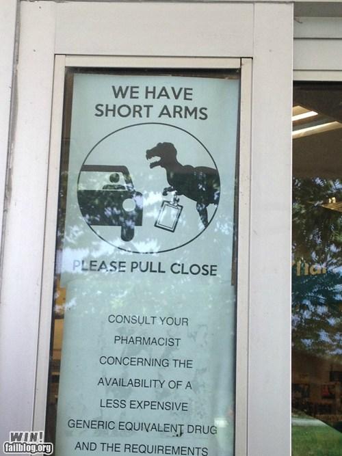 dinosaur,pharmacy,short arms,sign,t rex