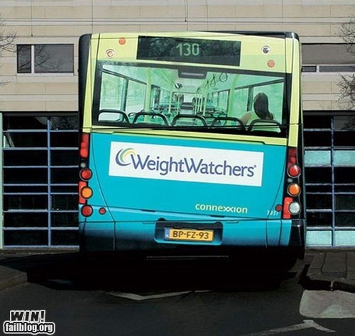 Ad,advertisement,bus,clever,illusion,weight,weight watchers