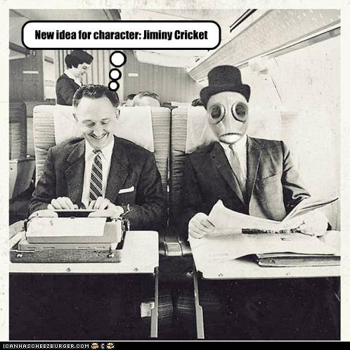 disney,jiminy crickey,mask,plane,robot,typewriter