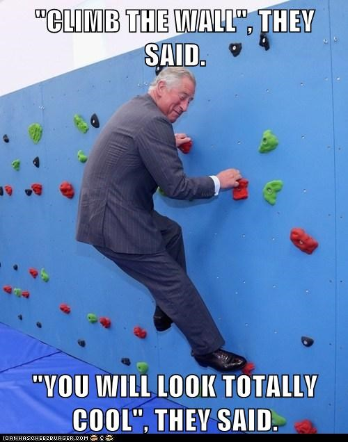political pictures,prince charles,wall climb