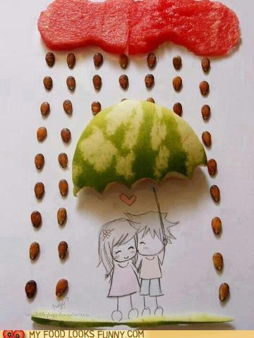 art,cloud,couple,love,rain,seeds,umbrella,watermelon