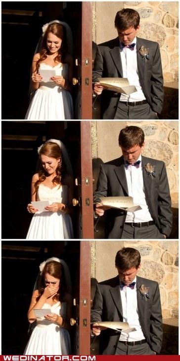 bride,funny wedding photos,groom,letter,men,read,vows,women