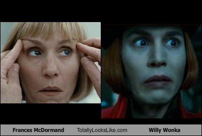 Frances McDormand Totally Looks Like Willy Wonka (Johnny Depp)