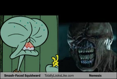 Smash-Faced Squidward (Spongebob Squarepants) Totally Looks Like Nemesis (Resident Evil)