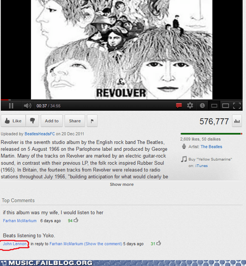 comment,john lennon,lennon,the Beatles,yoko,youtube,youtube comment