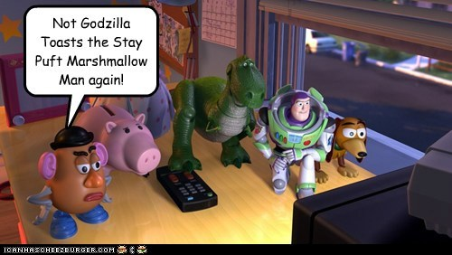 Not Godzilla Toasts the Stay Puft Marshmallow Man again!