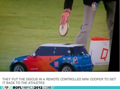 discus,London 2012,mini cooper,olympics,remote control,Track and Field,wat