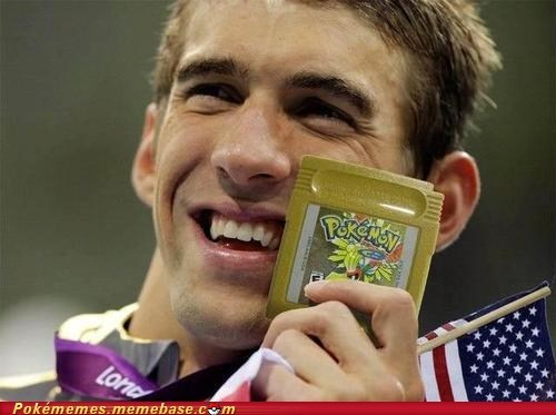 game boy color,gold medal,gold version,Michael Phelps,olympics,Pokémemes,the internets