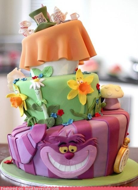 alice in wonderland,cake,epicute,fondant,layers,tiered