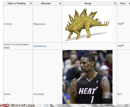 basketball,chris bosh,Connecticut,dinosaurs,miami heat,nba,reptar,stegosaurus,velociraptor,wikipedia
