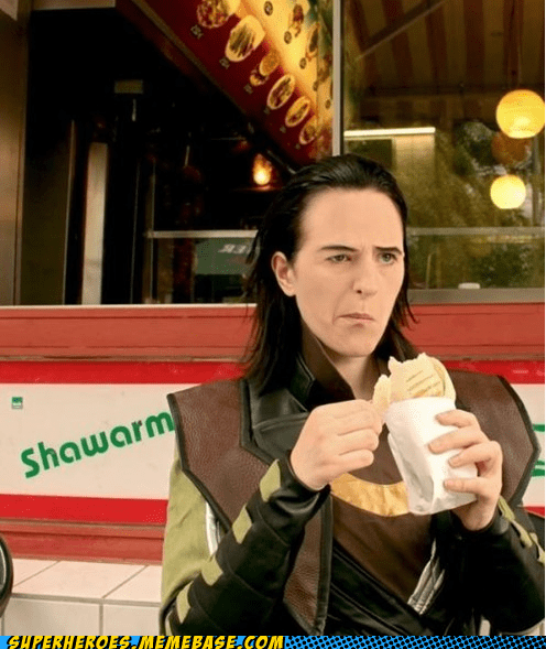 food,loki,schwarma,Superhero IRL,unhappy
