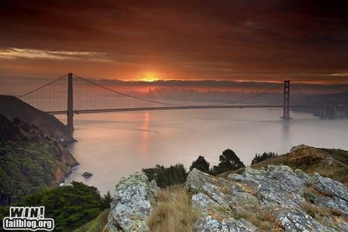 golden gate bridge,pretty colors,san francisco,sunrise,wincation