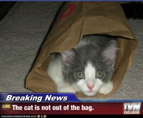 Breaking News - The cat is not out of the bag.