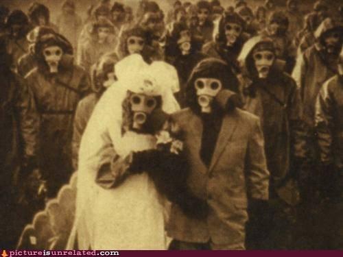 creepy,gasmask,nightmare fuel,vintage photography,wedding,wtf