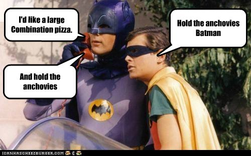 Adam West,anchovies,batman,burt ward,calling,holy batman,ordering,pizza,robin