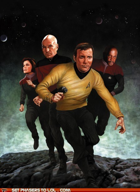 avery brooks,captain janeway,Captain Kirk,Captain Picard,captain sisko,captains,Deep Space Nine,kate mulgrew,painting,patrick stewart,Star Trek,the next generation,the original series,voyager,William Shatner