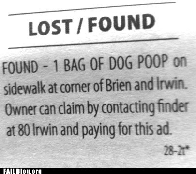 classifieds,dog poop,lost and found,newspaper
