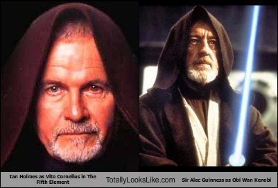 Ian Holmes (Vito Cornelius in The Fifth Element) Totally Looks Like Sir Alec Guinness (Obi Wan Kenobi in Star Wars)