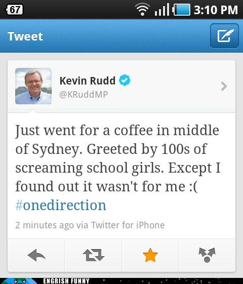Kevin Rudd,one direction,sydney,twitter