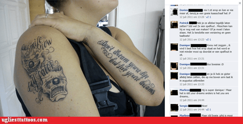 arm tattoos,facebook,misspelled tattoos