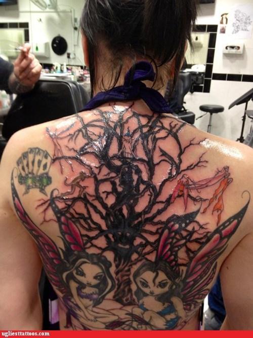 back tattoos,fairies,tree
