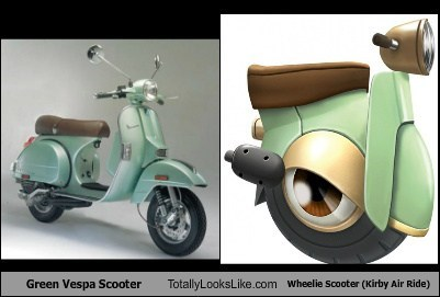 Green Vespa Scooter Totally Looks Like Wheelie Scooter (Kirby Air Ride)