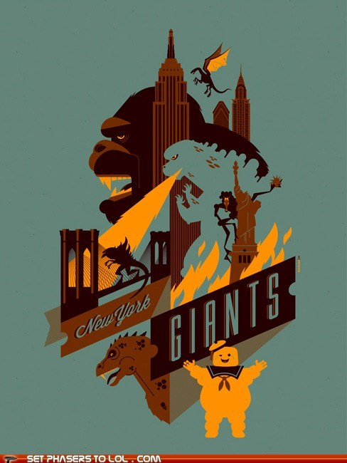 Ghostbusters,godzilla,king kong,monster,new york city,new york giants,pun,sports,stay puft marshmallow man
