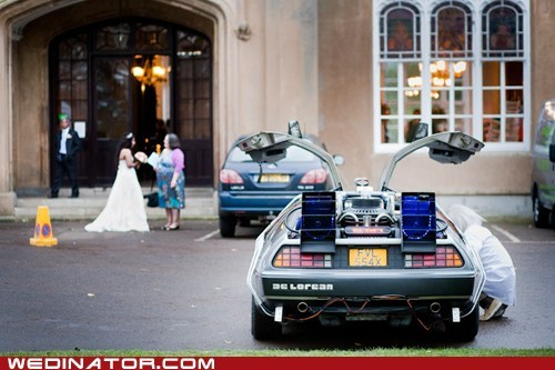80s,back to the future,bride,DeLorean,funny wedding photos