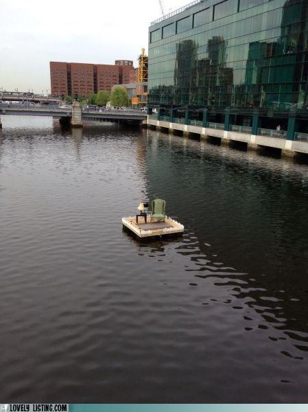 chair,lake,lamp,raft,river,room,water
