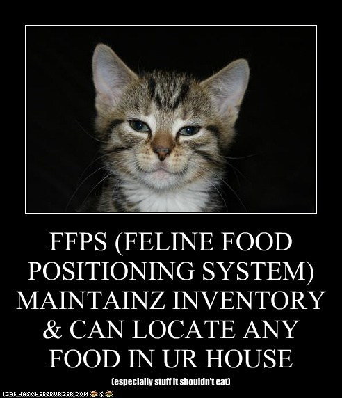 FFPS (FELINE FOOD POSITIONING SYSTEM) MAINTAINZ INVENTORY & CAN LOCATE ANY FOOD IN UR HOUSE