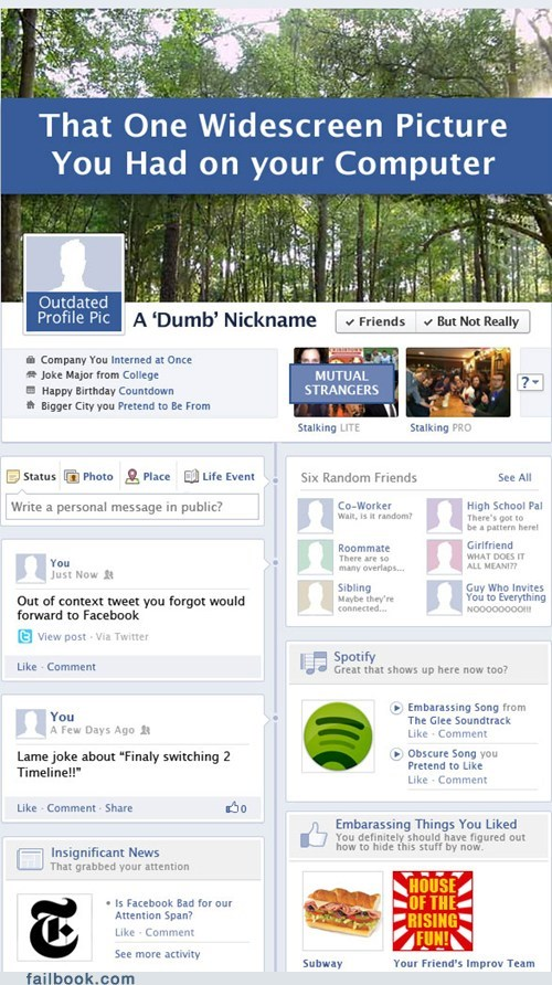 Failbook: Your Facebook Timeline