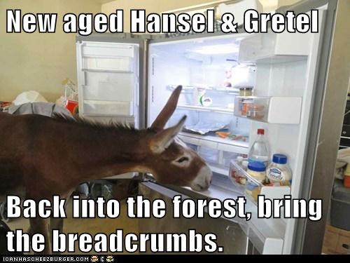 New aged Hansel & Gretel  Back into the forest, bring the breadcrumbs.