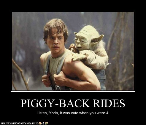 900 years old,cute,kid,luke skywalker,piggy-back ride,yoda
