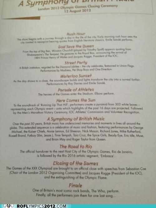 Full Closing Ceremonies Program