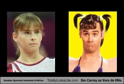 Russian Gymnast Anastasia Grishina Totally Looks Like Jim Carrey as Vera de Milo
