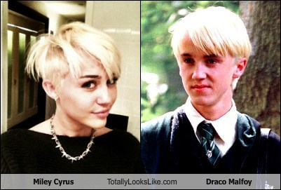 Miley Cyrus Totally Looks Like Draco Malfoy (Tom Felton)