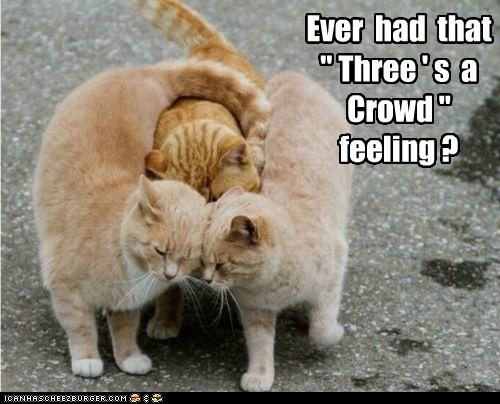 "Ever  had  that  "" Three ' s  a  Crowd ""  feeling ?"