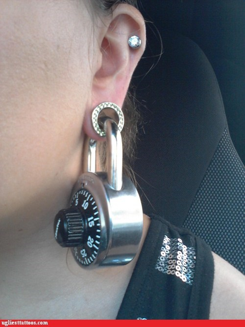 earrings,master lock,piercing