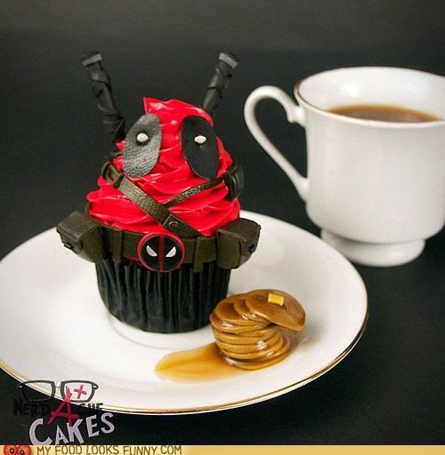 comic book,cupcake,deadpool,fondant,frosting,pancakes,red,tool belt,weapons